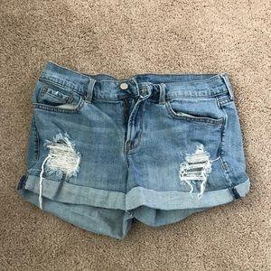 Distressed boyfriend jean shorts